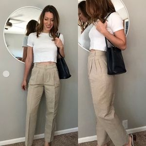 Vintage high waisted cream linen pleated trousers